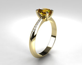 Citrine ring, yellow gold, emerald cut, engagement ring, Solitaire, Diamond,  yellow, diamond ring, Citrine, white gold, rose gold ring,
