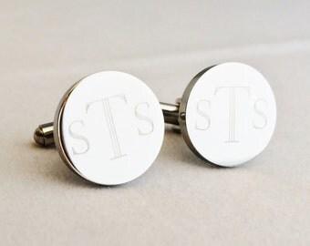 Custom Cufflinks in Stainless Steel Round Monogram Initials Engraved