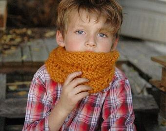 Hand Knit Chunky Cowl, Earwarmer/Headband for Toddler or Child - Pumpkin Orange
