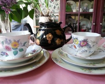 Tea for 2 English  Mismatched Tea Set, 9 Pieces