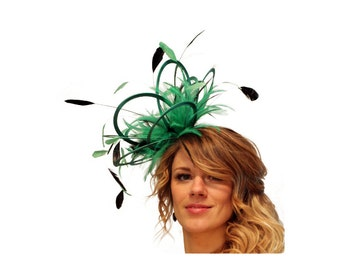 Emerald Green and Black   Feather Fascinator Hat - wedding, ladies day - choose any colour feathers & satin