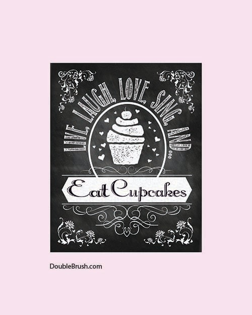 Cupcake Art Chalkboard Art Kitchen Print By