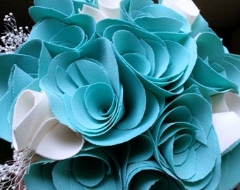 SALE***Teal Fabric Rose Bouquet
