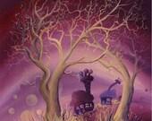 Violet Golden Trees, Whimsical Greetings card Blank Inside.