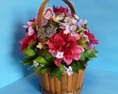 Flower Arrangement, Floral Arrangement,  Bouquet Perfect of Bright and Vibrant Silk Flowers in a Unique Bamboo Basket.