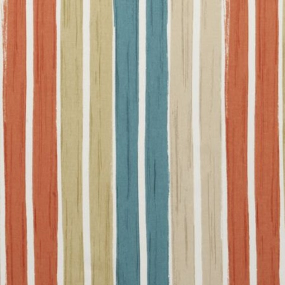 Teal And Orange Striped Cotton Upholstery Fabric