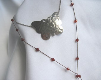 Free Spirit Vintage 1970s Hammered Butterfly Necklace, Layering Necklace, Boho Jewelry, Hippie Chic Necklace
