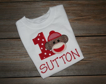Personalized Applique Sock Monkey Birthday T-Shirt