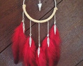 Dreamcatcher dream catcher feather necklace statement necklace bohemian jewelry red necklace tribal necklace leather necklace hippie boho
