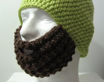 Crochet Bearded Skullcap - Beard Hat - Lime Green Hat With Beard Face Warmer - Ready To Ship!