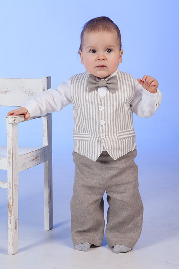 Ring Bearer Outfit Baby Boy Linen Suit Rustic Wedding Boy
