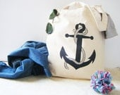 Shopper Grocery Diaper Tote Bag 100% Cotton Natural Color with vintage anchor print