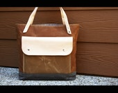 """SALE - Waxed canvas tote - heavy weight canvas bag and genuine natural leather  """" FELTON BAG """""""