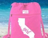 California Girl Canvas Backpack Cinch Sack
