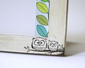 White wooden picture frame in shabby chic with two owls - 10x15cm - 4x6