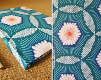 handmade notebook, diary, journal, sketch book, scrapbook, vintage kimono fabric from Japan cover, geometric printed, teal, flower - HEXAGON