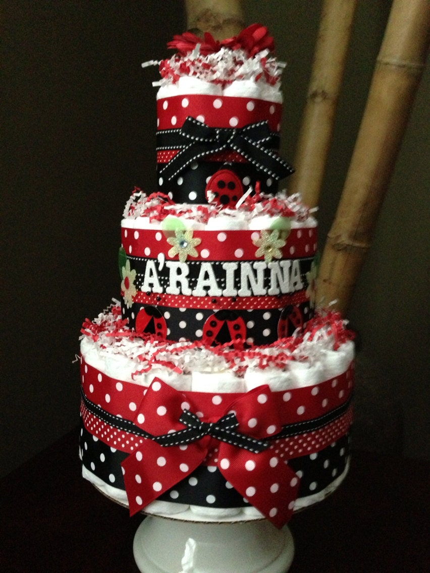 Ladybug Diaper Cake For Baby Shower Centerpiece Or New Baby
