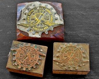 Vintage Industrial Embossing Stamps, Wood Block, Metal Engraved, Set of 3, Craft Supply, Paper Crafts