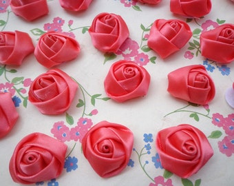 SALE--50 pcs25X10mm Watermelon Red  Lovely Rose Satin Flowers