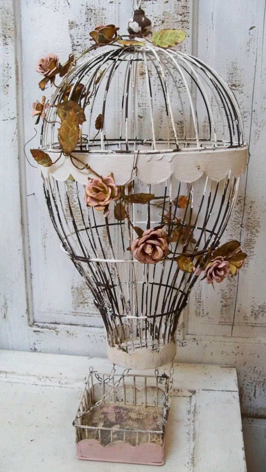 Hot Air Balloon Bird Cage Hand Painted White By