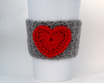 Crochet Heart Coffee Cup Cozy Gray and Red
