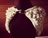 Autumn wool capelet hand knit in natural pure wool  Original accessory for fall and winter  Fashion trend