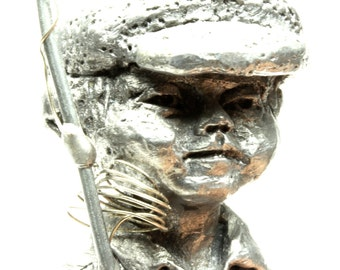 Solid Pewter Boy With Fishing Pole Figurine