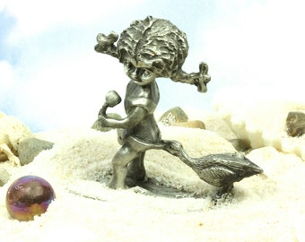 Adorable Solid Pewter Girl At The Beach Figurine - A Day At The Beach Summertime At The Beach