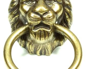 Regal Lion's Head Brass Antique Finish Drawer Pull Furniture Trim Cabinet Accent - Gold Lion's Head