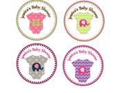 "Personalized 2.5"" OR 2"" Round Girl Elephant Baby Girl shower sticker favors, decorations"