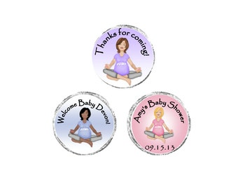 Personalized Yoga Mommy - Caucasian or African American, Pink, Blue, Lavender Baby Shower labels, stickers-sheet of 108