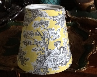 Chandelier lampshade lemon yellow and black French toile shade wall sconce Waverly Rustic Life