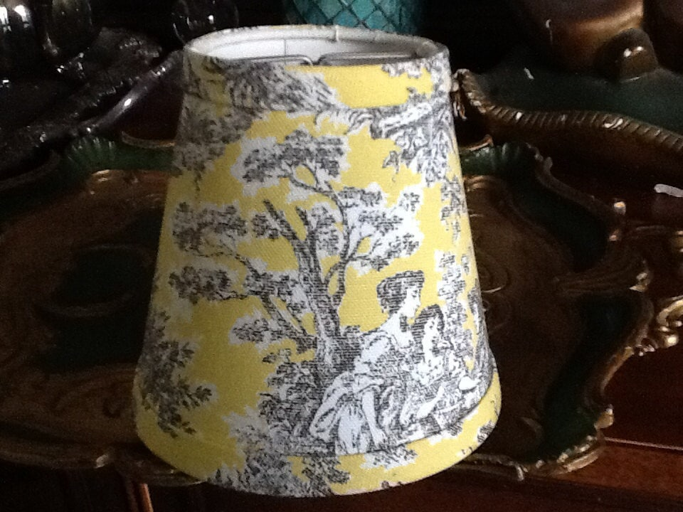 Chandelier Lampshade Lemon Yellow And Black French Toile Shade