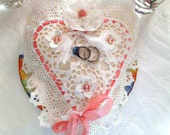 Wedding Ring Bearer Pillow - Peach pink cameo theme