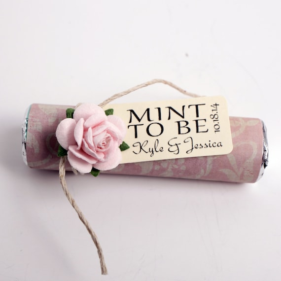 blush wedding favor mints