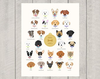 Dog Alphabet - Nursery Art Print