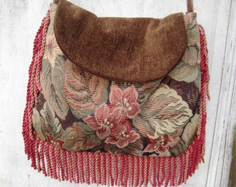 Floral tapestry bag purse, gypsy fringe bag, boho bag, hippie crossbody bag, earth tone fabric bag