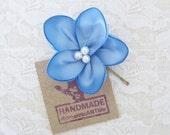 Light Blue Flower Hair Pin. French Blue Flower Hair Piece. Bridesmaid Flower Hair Accessory.