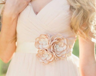Bridal Gown Dress Sash. Bridal Champagne Flower Sash. Bridal Flower Accessory.