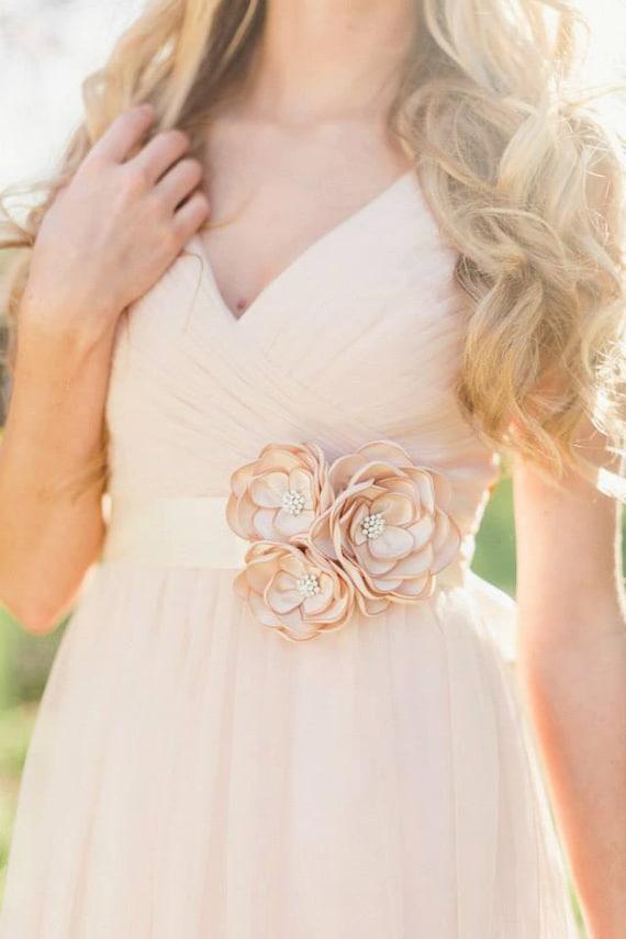 Bridal gown dress sash bridal champagne flower sash bridal for Flowers for champagne wedding dress