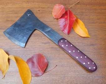 Forged Hatchet with Purple Heart Wood and Nickel Silver Handle