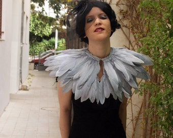 gray feathers shall.Shoulders  Feathers cape in Grey . gothic decadence costume ,vintage capelet .