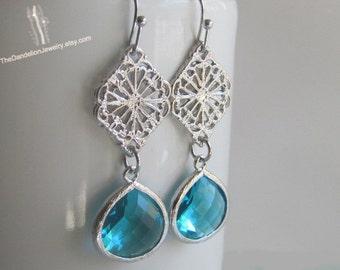 SALE 10% OFF: Glass Earring Blue - Dangle Earrings Drop Earrings Filigree Earrings Gift Jewelry