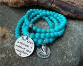 Hand Stamped Mother Daughter Gemstone bracelet set - personalized turquoise gemstone stacking bracelets