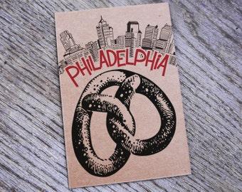 Philadelphia Pretzel Letterpress Postcard Print