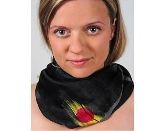 Woman Scarf. Hand Painted Shawl. Multicolor Silk Scarf. Echarpe Foulard. Gift for Her. Black Sunrise