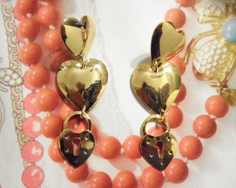 2 Pr. of Vintage Goldplated Double Heart with Lock Earrings