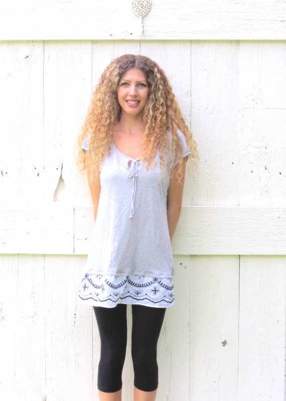 womens gray tunic top upcycled bohemian shirt recycled gap
