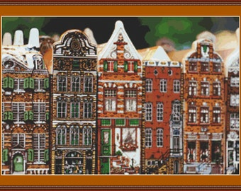 Amsterdam Buildings I Cross Stitch Pattern