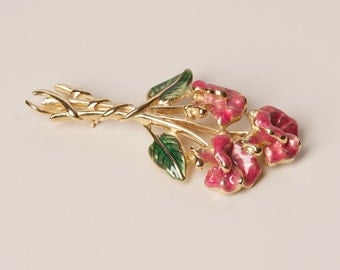 Vintage Floral Brooch Gold Tone and Glaze